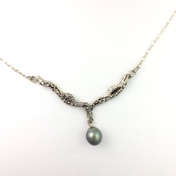 Tahitian Black Pearl Silver Organic Sea Life Necklace
