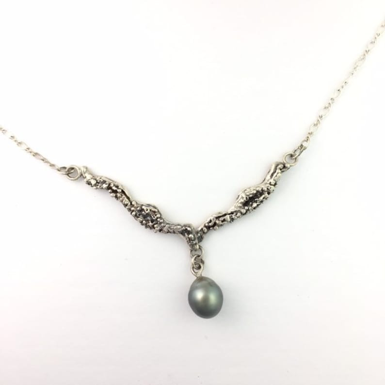 3e52eac2dfc Tahitian Black Pearl Necklace Sterling Silver , Original Handcrafted Sea  Life Necklace, Organic Necklace, Pearl Drop Necklace