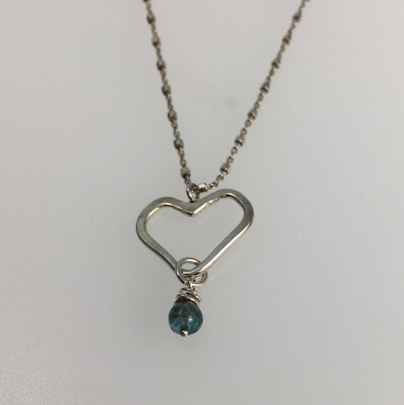 Handmade Tiny Heart Necklace with African Apatite