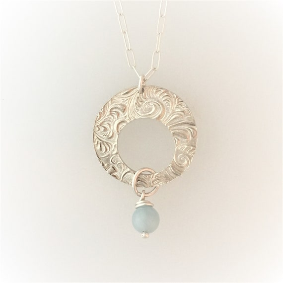 Textured Round Pendant with Aquamarine
