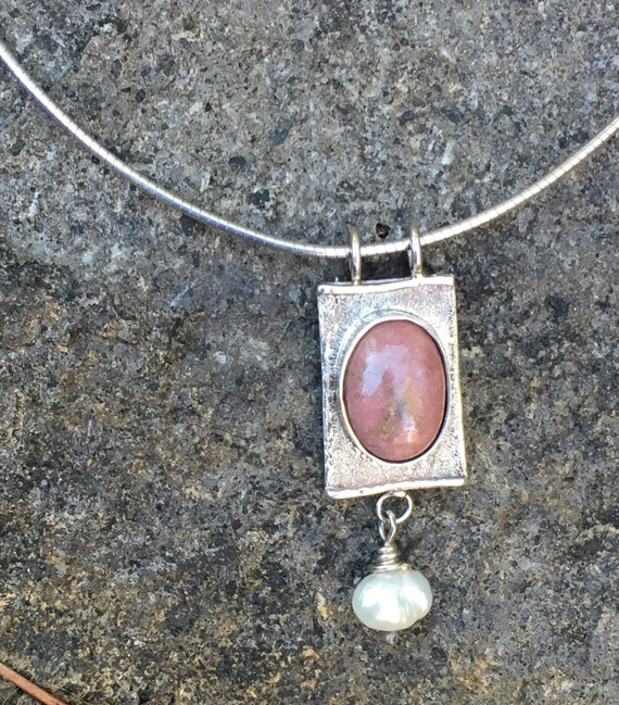 Rhodonite with Pearl Necklace