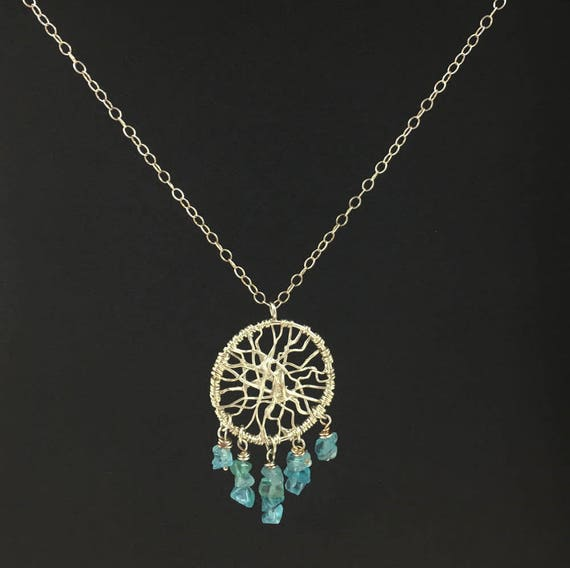 Sterling Silver Dreamcatcher Necklace \ Wire Wrap Necklace \ Silver Apatite Bead Necklace \Handmade Necklace \ Gifts for Her