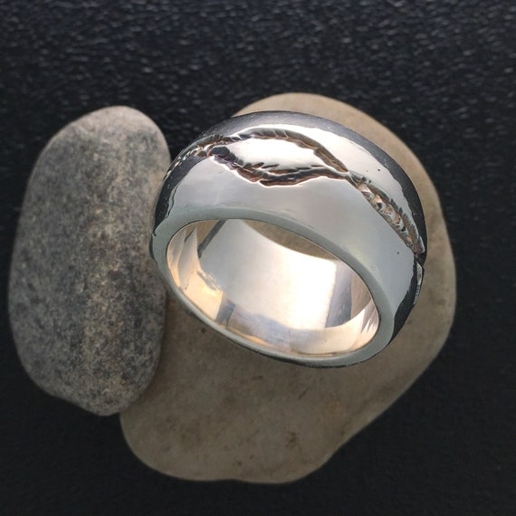 Hand Carved Sterling Silver Wide Band Ring