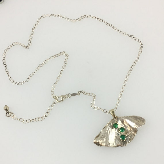 Silver Ginkgo Leaf Necklace with Green Cubic Zirconia