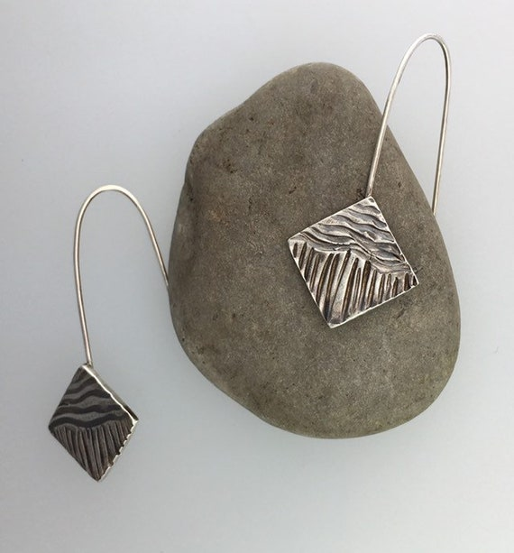 Artisan Carved Earrings, Long French Wire Style in Sterling Silver