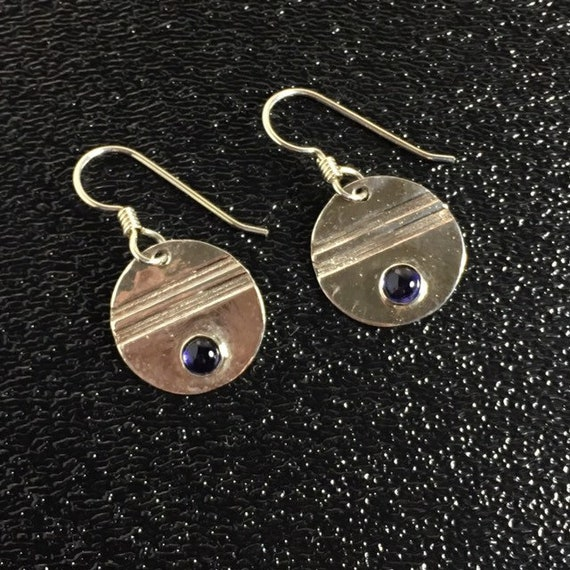 Original Iolite Gemstone Earrings in Sterling Silver