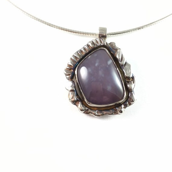 Blue Agate Pendant Necklace in Sterling Silver
