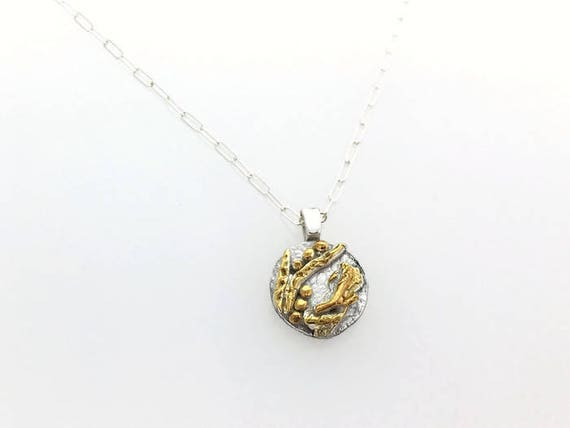 Botanical Sterling Silver and Gold Plate Charm Pendant