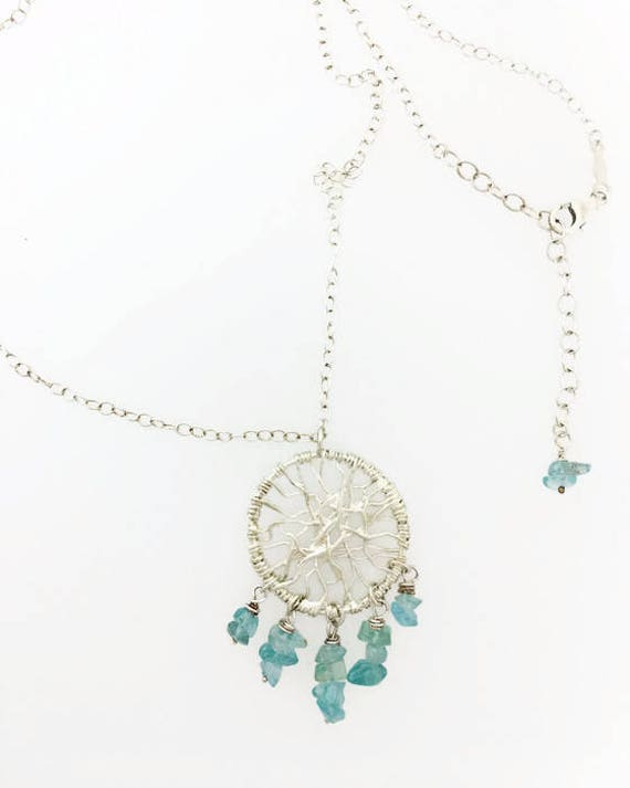 Dream Catcher Necklace with Apatite Beads