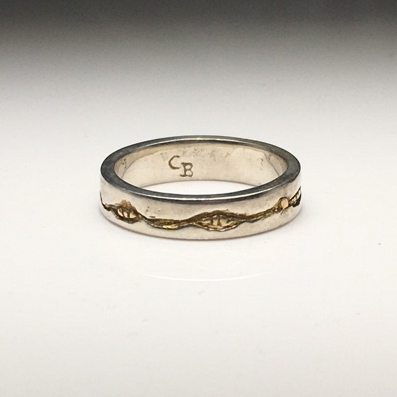 Mixed Metal Carved Band Ring with Sterling Silver and 14k Gold Plate