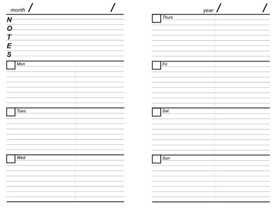 Printable Black And White Planner Pages With A Contacts Page Etsy