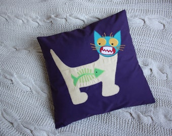 SALE Cat Applique Cushion Cover