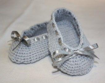 Crochet Newborn Baby Ballerina Pumps