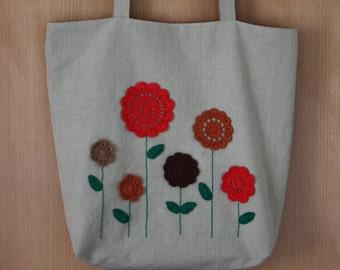 Crochet Flowers Linen Tote Bag