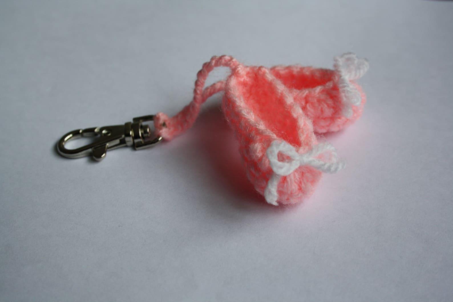 crochet ballet shoes keyring bag charm