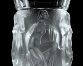 Glamorous Bohemian Art Deco Nude Figural Satin Glass Vase H.Hoffmann