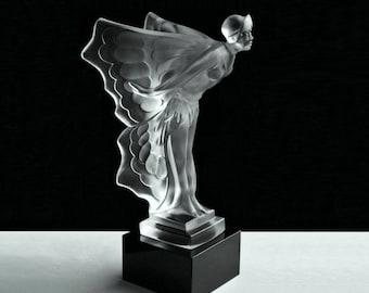 Advertising Art Deco Vaseline Glass Spirit Of Ecstasy Rolls Royce Car Mascot Modern Design