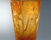 Famous French Art Deco Bohemian Amber Glass Large Vase Nude Decor