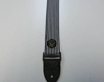 Guitar Strap - Micro Stripe Print - Black and White - Handmade in Scotland - Vegan Leather - Sturdy Reinforced Ends - Mighty Beast
