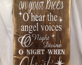 fall on your knees wood sign/ christian wood sign/ christmas decor/ christ wood sign/ christmas wood sign/ north star wood sign