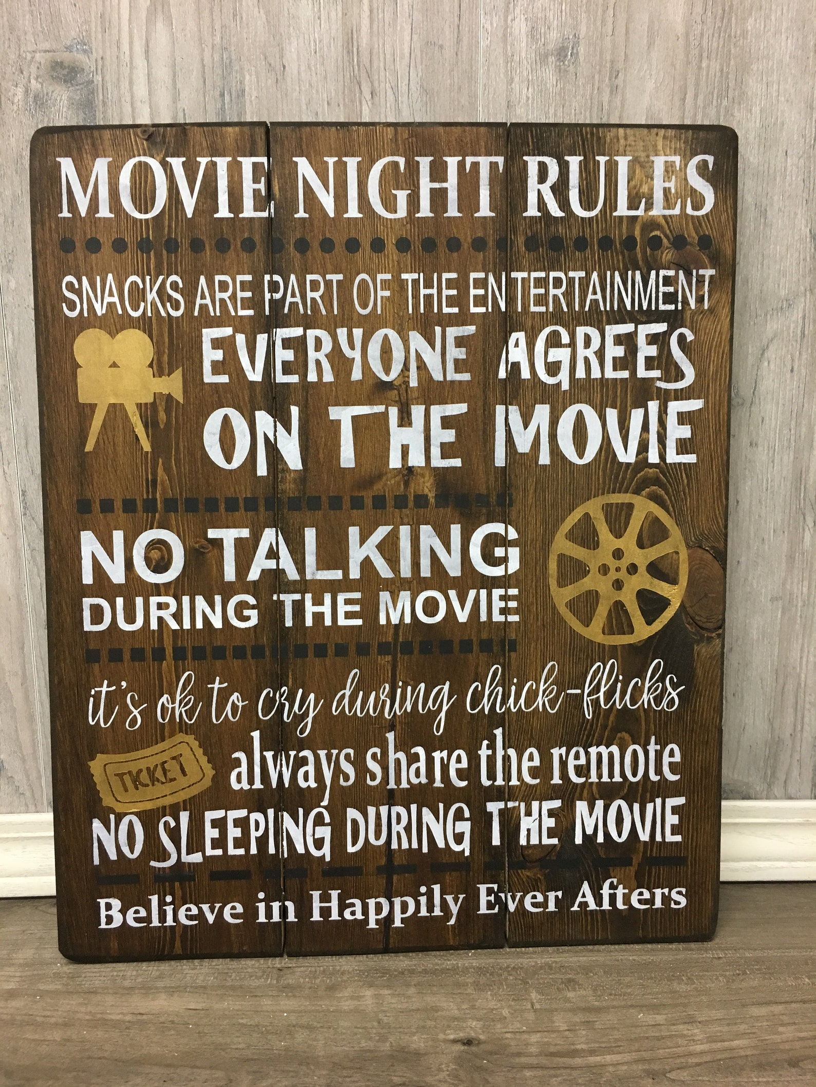Movie Night Rules Sign