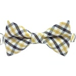 Black and Gold Gingham Check Cat or Kitten Breakaway Safety Collar- Bow Tie Cat Collar- Removable Bowtie