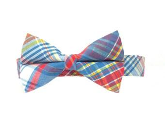 668d8dcbb4a9 Preppy Sunset Seersucker Plaid Bow Tie Dog Collar Set- Removable Bowtie