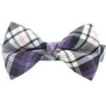 Purple Black and White Tartan Check Plaid Dog Collar Bow Tie Set- Removable Bowtie