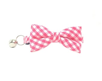 Small Print Pink Gingham Bow Tie Cat or Kitten Breakaway/Safety Collar- Bow Tie Cat Collar- Removable Bowtie