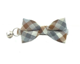 Brown and Grey Checkered Gingham Cat or Kitten Breakaway Safety Collar - Bow Tie Cat Collar- Removable Bowtie