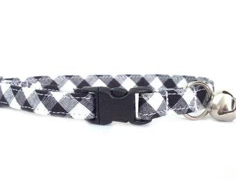 Black and White Gingham Breakaway Cat or Kitten Breakaway Collar