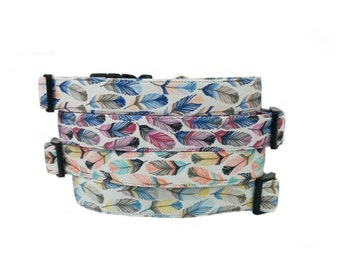 Southwest Inspired - Colorful Feathers Dog Collar-Choose from 4 Patterns!