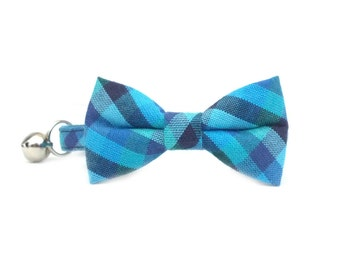 Royal Navy Blue Checkered Gingham Cat Breakaway Safety Collar- Bow Tie Cat Collar- Removable Bowtie