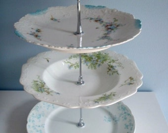 Handmade 3 Tier Vintage Plate Stand, Dessert Stand, Cupcake Stand, Appetizer Stand, Blue, Floral