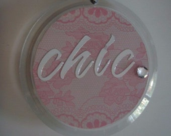 Round Double Sided 'Chic' Key Chain with Light Pink and White Polka Dots and Lace Pattern