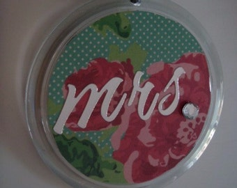 Round 'Mrs.' Double Sided Key Chain with Pink and Green Floral Pattern and Rhinestones