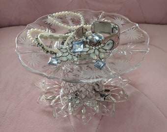 Handmade 2 Tier Silver Color and Glass Vintage Dish Jewelry Stand, Hair Accessory Stand, Glass Stand