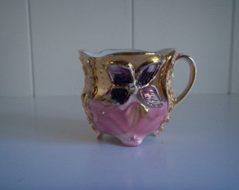 Hand painted Antique German Lusterware Molded Demitasse Footed Tea Cup, Pink and Purple Luster with Gold Detail
