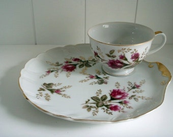Vintage Noritake China Clam Shell Snack Plate and Tea Cup Set Purple Floral 1950's