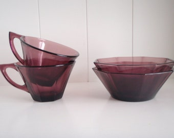 Vintage Hazel Atlas Moroccan Amethyst Octagonal Glass Bowls and Cups