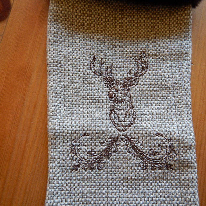 furry cuff and an embroidered buck deer Rustic Christmas Stocking with weaved fabric