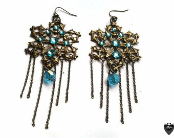 Ornate Filigree Chandelier Earrings in Antique Brass with Swarovski LtTurquoise Rhinestones, Rondelle Crystals and Chain Fringe, EAR7517