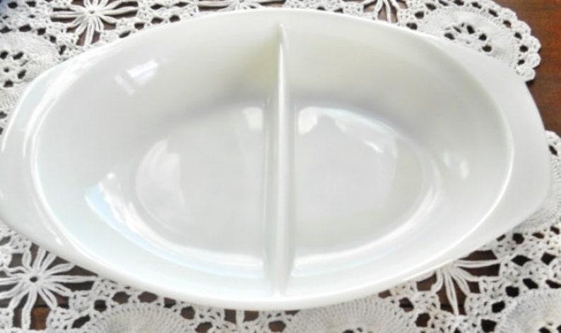 Pyrex White Opal Divided Casserole Dish 1.5 Quart