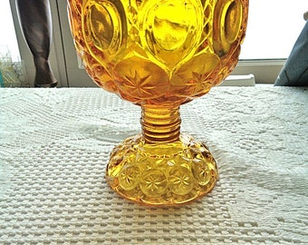"""L.E Smith Amber Glass Moon And Stars Candy Dish on Pedestal 6"""" Tall - Free Shipping"""