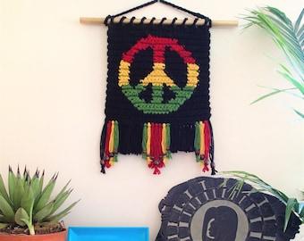 Positive Vibration Wall Hanging Crochet Pattern, PDF Instant Download, Non-Profit Shop, Wall Art, Peace, Rasta
