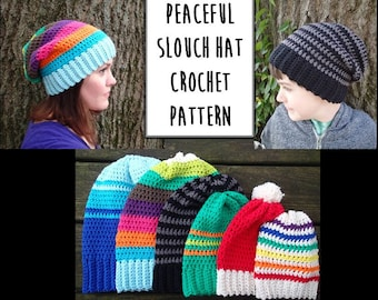 Peaceful Slouch Hat Crochet Pattern PDF, Nonprofit Shop, Newborn, Baby, Toddler, Child, Adult, and XL Adult Sizes