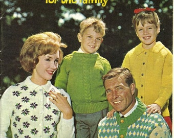 PDF Vintage 1963 Style Right Sweaters for the Family Knit and Crochet Patterns