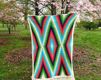 Modern Bohemian Children's Blanket Crochet Pattern, PDF Instant Download, Non-Profit Shop, Baby, Stroller, Car Seat, Rug, Afghan, Tutorial