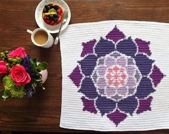 The Lotus Rose Crochet Pattern, Dish Towel, Car Seat Blanket, Lovey, Wall Hanging, Burp Cloth, Changing Pad, Nonprofit Shop