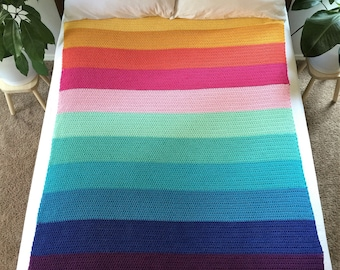 Peaceful Easy Blanket Crochet Pattern and Tutorial, PDF Instant Download, Non-Profit Shop, Beginner Photo Tutorial, Rainbow Afghan